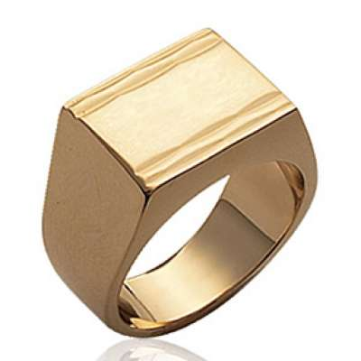 Signet ring for Men Gold plated 18k Engravable