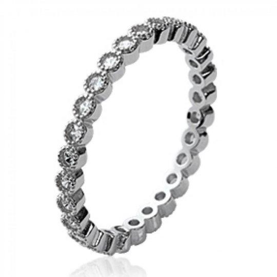 Ring Wedding ring Engagement d'éternité Argent Rhodié Cubic Zirconia Microsertis