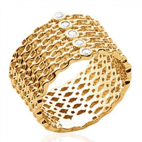 Anello tube motif Catenas Placcato in oro 18k - 5 oxydes...