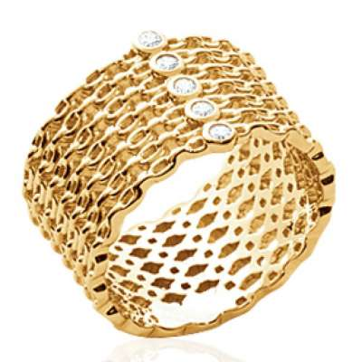 Ring tube motif Chains Gold plated 18k - 5 oxydes de zirconium