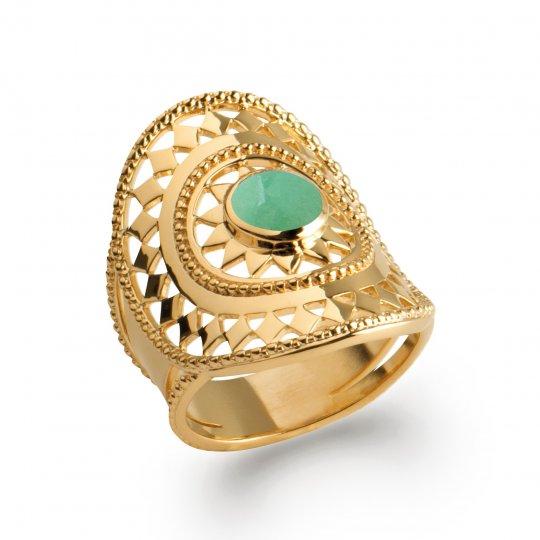 Ring couvrante bohème pierre verte quartz aventurine Gold...