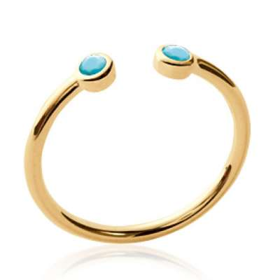 Ring ouverte pierres turquoises fine Gold plated 18k - Women