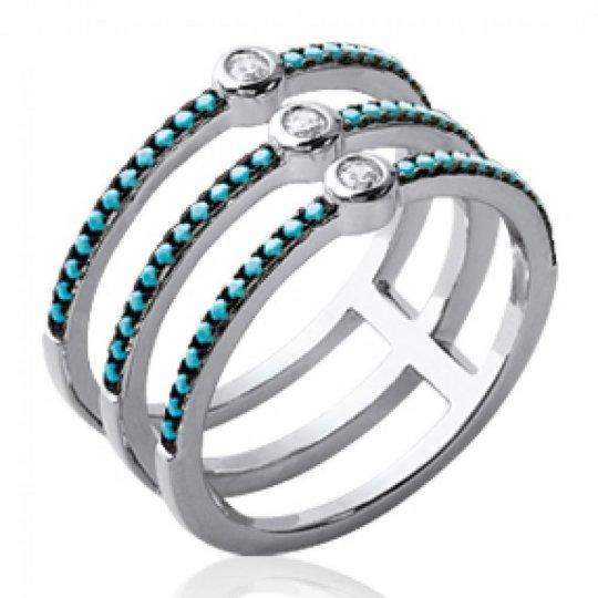 Ring triple multi anneaux bleu turquoise Argent Rhodié -...