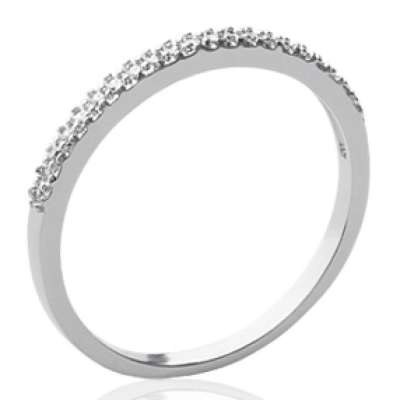 Demi-Wedding ring Engagement Argent Rhodié - Cubic...