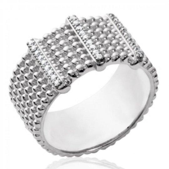 Ring large perlée Argent Rhodié - Zirconia - Women
