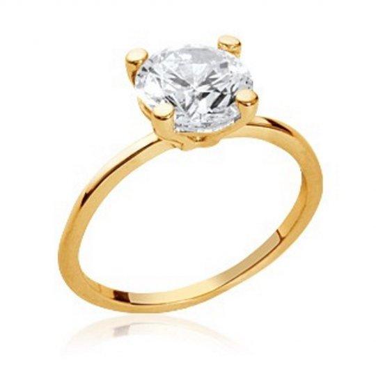 Ring de fiançailles Solitaire Gold plated 18k - Cubic...