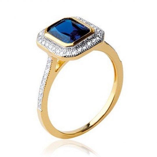 Ring de fiançailles art déco Gold plated 18k Oxydes de...