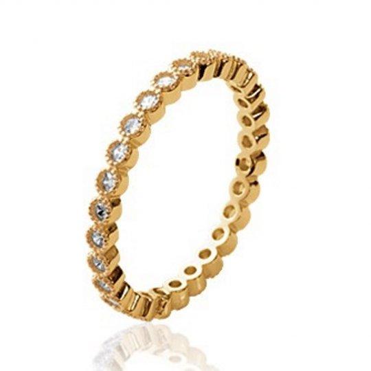 Ring Wedding ring Engagement d'éternité Gold plated 18k - Cubic Zirconia Microsertis