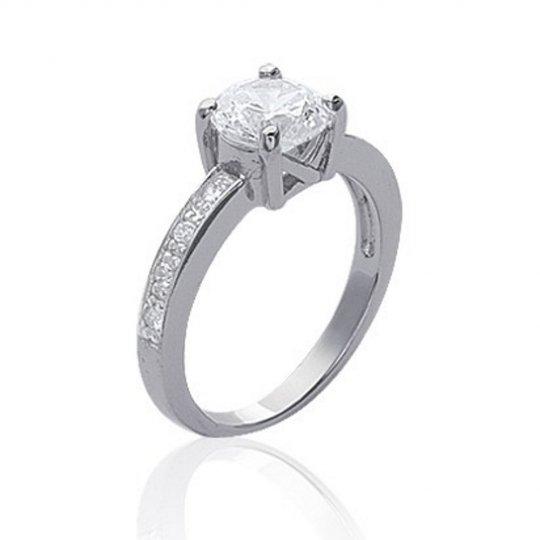 Ring Solitaire Argent Rhodié - Cubic Zirconia 7mm - Women