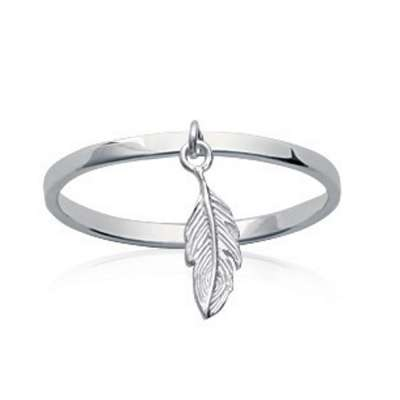 Ring breloque Feathers Argent Rhodié fine - Women