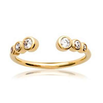 Ring de promesse ouverte Gold plated 18k - 6 oxydes de...
