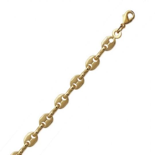 Bracelet chaîne Grain De Café 4mm Plaqué Or - Mixte - 19cm