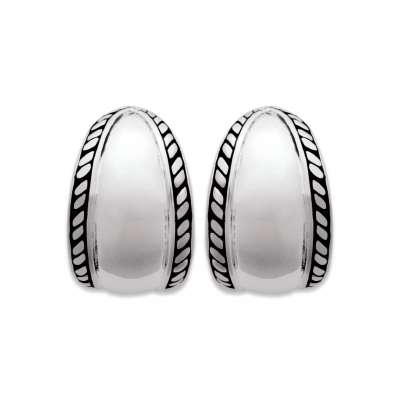 Demi-Hoop Earrings of Bali Argent Rhodié - Women