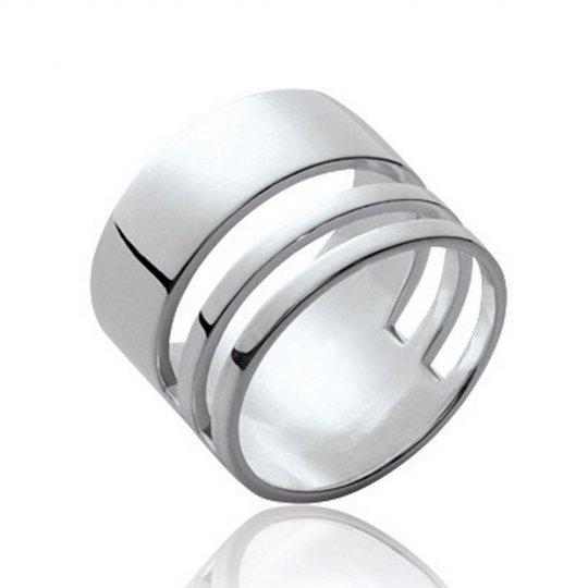 Ring tube ciselée Argent Rhodié - Women