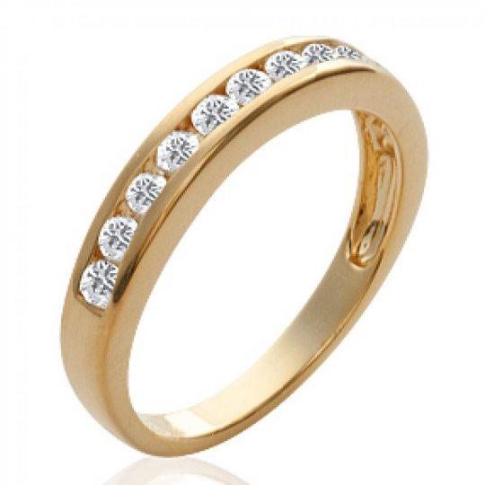Demi-Wedding ring Engagement Gold plated 18k - Cubic Zirconia - Women
