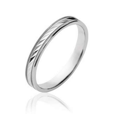 Wedding ring Engagement striée originale Argent Rhodié -...