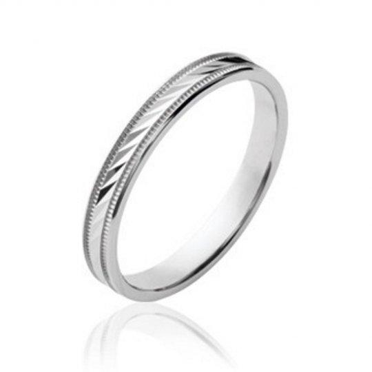 Wedding ring Engagement striée originale Argent Rhodié - Women