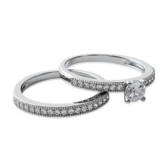 Anillo Solitario double anneaux Argent Rhodié - óxido de...