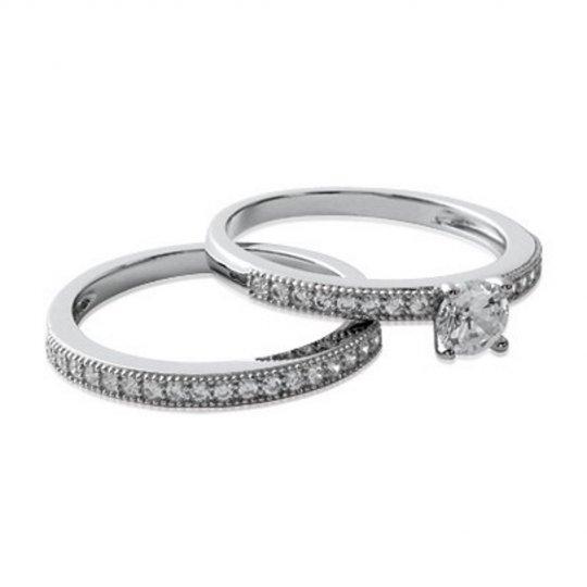 Ring Solitaire double anneaux Argent Rhodié - Cubic Zirconia