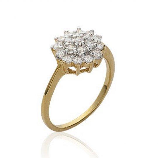 Ring de fiançailles marguerite Gold plated 18k - Oxydes...