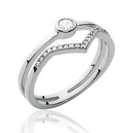 Ring de promesse élégante Argent Rhodié - Oxydes de...