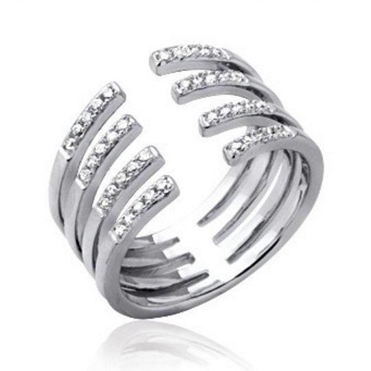 Ring Argent Rhodié - Cubic Zirconia Microsertis