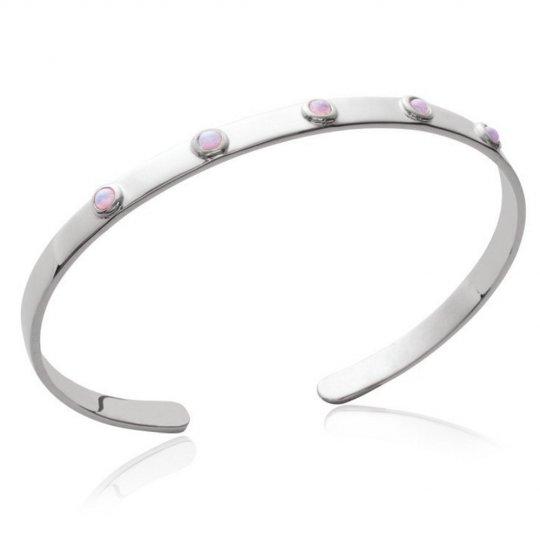 Manchette pierres roses de synthèse Argent Massif Rhodié - 58mm