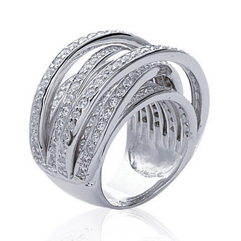 Grosse Ring entrelacée argent rhodié large oxydes de zirconium