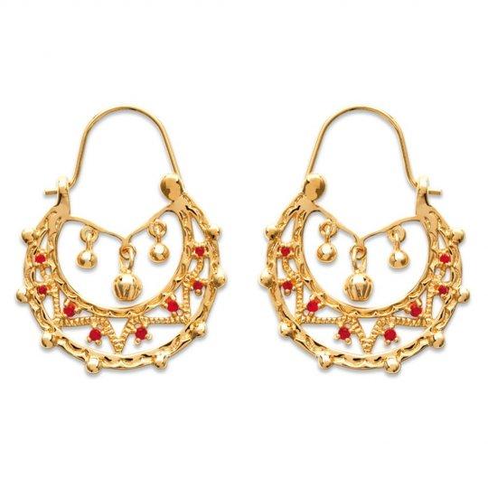 Hoop Earrings Savoyardes Gold plated 18k 25x33mm pierres...