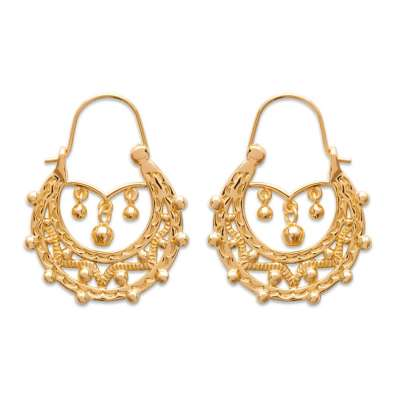 Hoop Earrings Savoyardes Gold plated 18k 25x35mm Earrings...