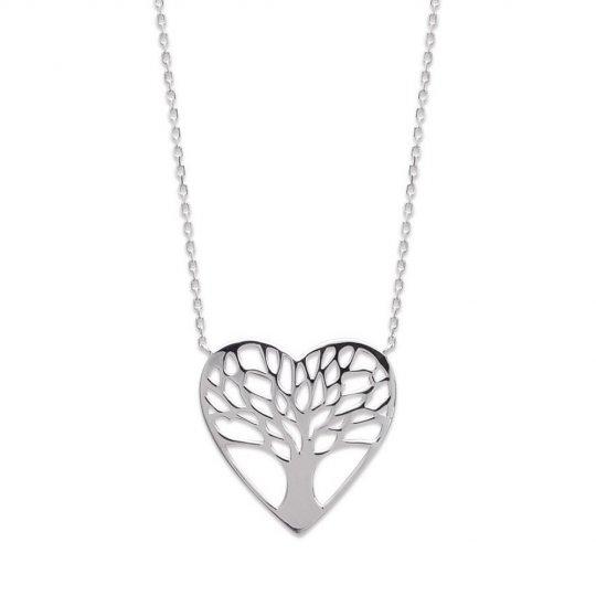 Collier Coeur arbre de vie Argent Massif Rhodié - Femme - 45cm