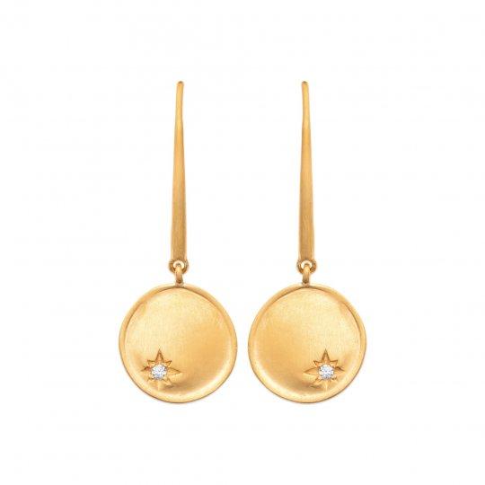 Earrings crochet breloque étoile Gold plated 18k - Zirconium