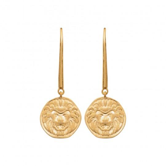 Earrings LEO crochet breloque Gold plated 18k