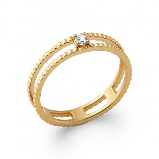Anello double anneau petit Solitario Placcato in oro 18k...