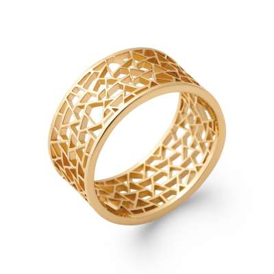 Ring Gold plated 18k ajourée Geometric shapes - Women