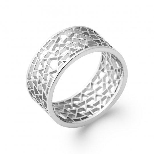Ring Argent Rhodié ajourée Geometric shapes - Women