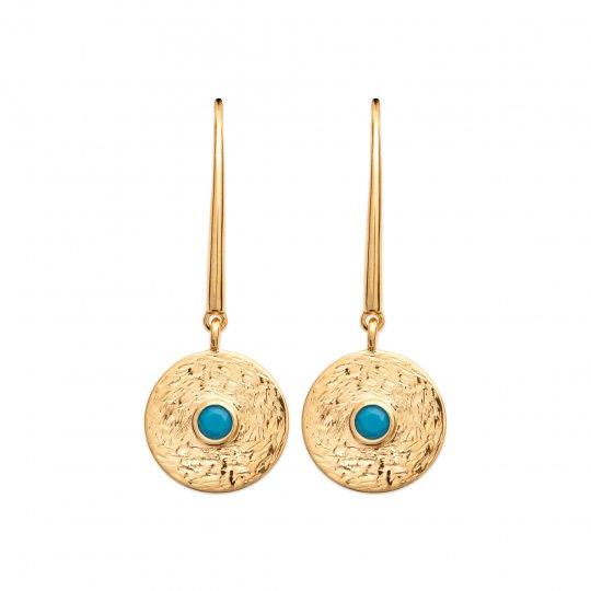Orecchini brossées pendenti à crochet pierre d'imitation bleueturquoise Placcato in oro 18k
