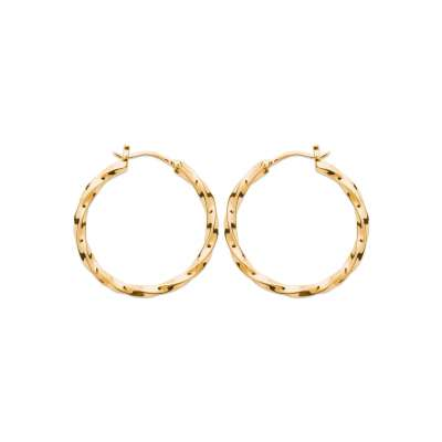 Hoop Earrings torsadées Gold plated 18k 30mm - Women