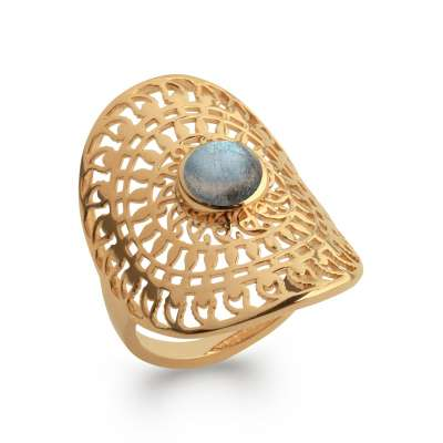Ring soleil couvrante labradorite Gold plated 18k - Women