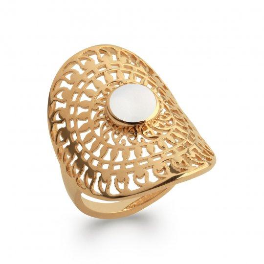 Ring couvrante soleil pierre de lune Gold plated 18k Bohème
