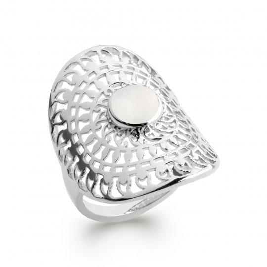 Ring argent pierre de lune couvrante soleil Rhodié - Bohème