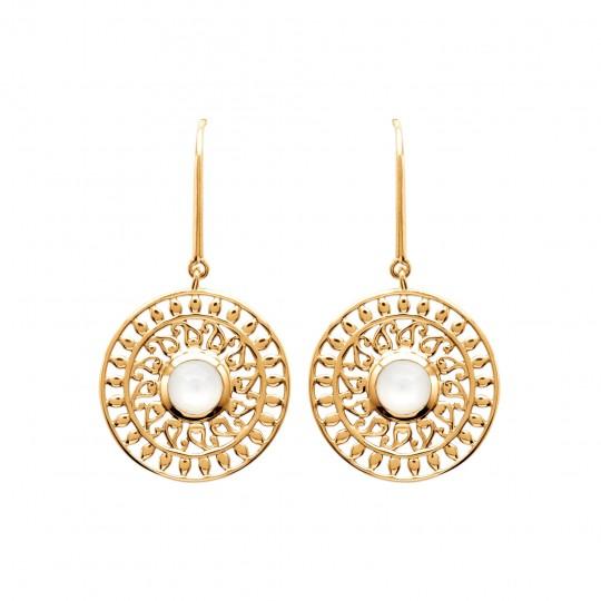 Boucles d'Oreilles soleil pierre de lune pendantes Plaqué...