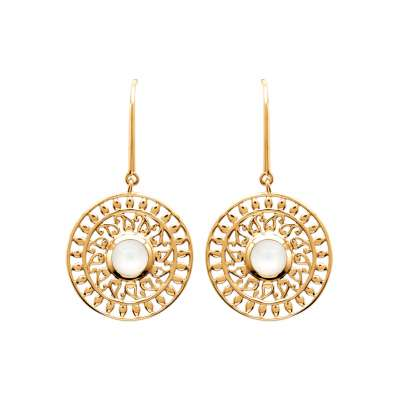 Earrings soleil pierre de lune  Gold plated 18k bohème
