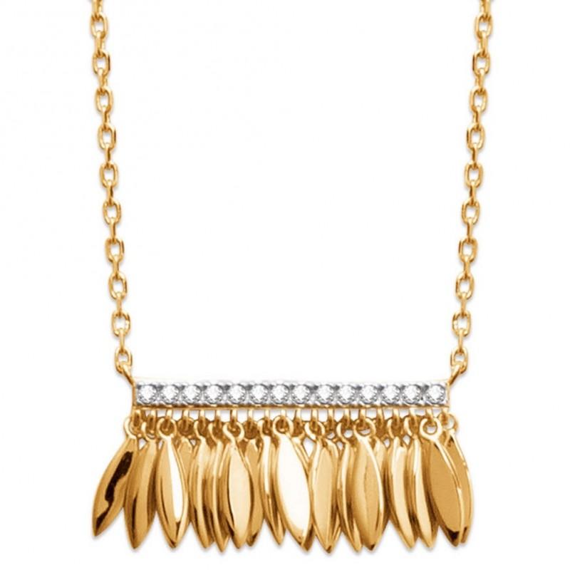Halskette breloques Feders aztèque Vergoldet 18k - Zirconium - 45cm
