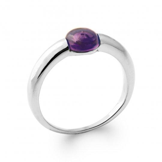 Ring fine améthyste Argent Rhodié - Women