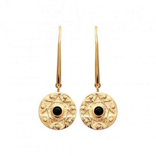 Drop Earrings étoile pierre Black Gold plated 18k - Women