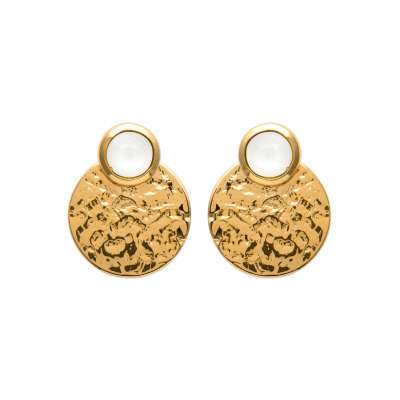 Earrings martelées pierre de lune Gold plated 18k - Women
