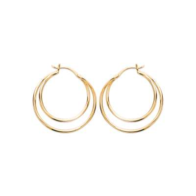 Hoop Earrings double 30mm Gold plated 18k - Women
