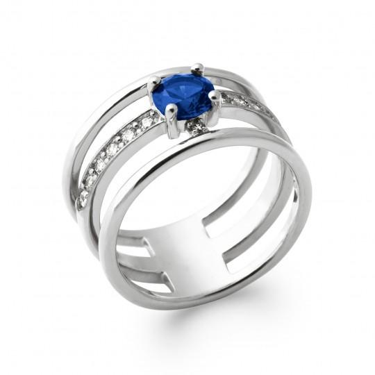 Bague tripla anneau pierre bleue marine Argent Rhodié -...