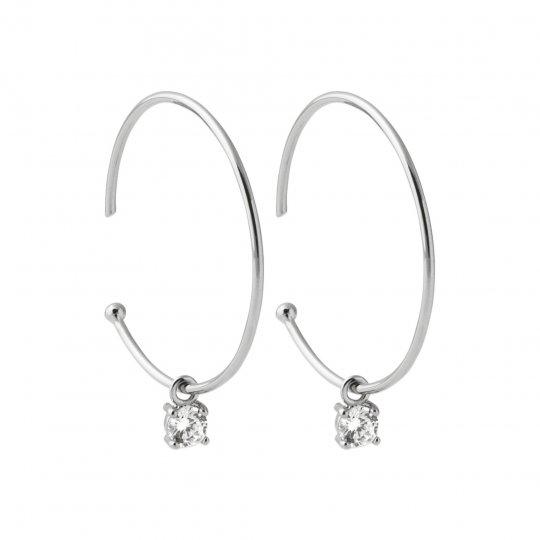 Hoop Earrings Ouvertes Petite pierre 30mm Argent Rhodié...